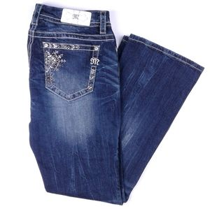 Miss Me Mid Rise Easy Boot Embellished Jeans sz 31